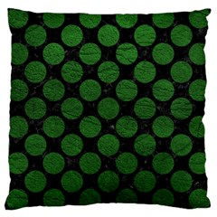 Circles2 Black Marble & Green Leather Large Cushion Case (one Side)
