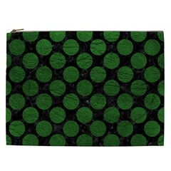 Circles2 Black Marble & Green Leather Cosmetic Bag (xxl)