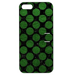 Circles2 Black Marble & Green Leather Apple Iphone 5 Hardshell Case With Stand