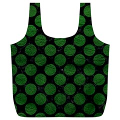 Circles2 Black Marble & Green Leather Full Print Recycle Bags (l)