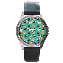 Sushi Pattern Round Metal Watch