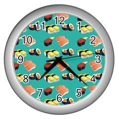 Sushi Pattern Wall Clocks (silver)