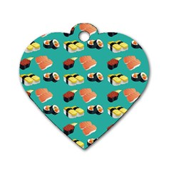 Sushi Pattern Dog Tag Heart (one Side)