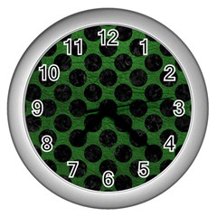 Circles2 Black Marble & Green Leather (r) Wall Clocks (silver)