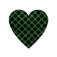 Circles2 Black Marble & Green Leather (r) Heart Magnet