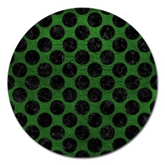 Circles2 Black Marble & Green Leather (r) Magnet 5  (round)