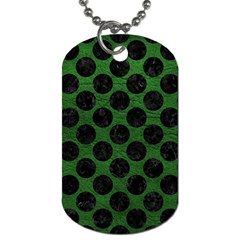 Circles2 Black Marble & Green Leather (r) Dog Tag (one Side)