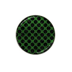 Circles2 Black Marble & Green Leather (r) Hat Clip Ball Marker
