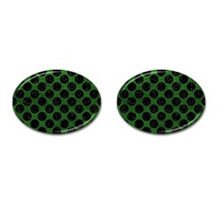 Circles2 Black Marble & Green Leather (r) Cufflinks (oval)