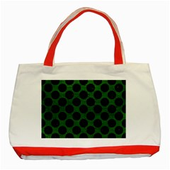 Circles2 Black Marble & Green Leather (r) Classic Tote Bag (red)