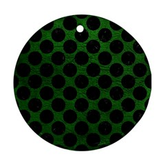 Circles2 Black Marble & Green Leather (r) Round Ornament (two Sides)