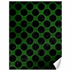 Circles2 Black Marble & Green Leather (r) Canvas 12  X 16
