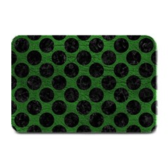Circles2 Black Marble & Green Leather (r) Plate Mats