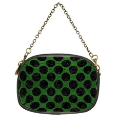 Circles2 Black Marble & Green Leather (r) Chain Purses (two Sides)