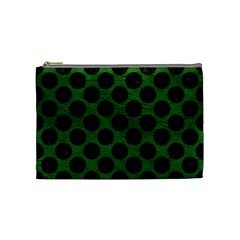Circles2 Black Marble & Green Leather (r) Cosmetic Bag (medium)