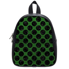 Circles2 Black Marble & Green Leather (r) School Bag (small)