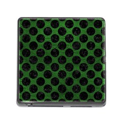 Circles2 Black Marble & Green Leather (r) Memory Card Reader (square)