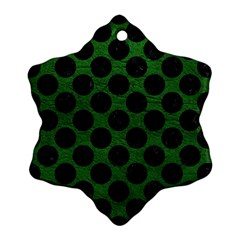 Circles2 Black Marble & Green Leather (r) Ornament (snowflake)