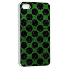 Circles2 Black Marble & Green Leather (r) Apple Iphone 4/4s Seamless Case (white)