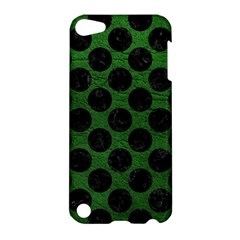 Circles2 Black Marble & Green Leather (r) Apple Ipod Touch 5 Hardshell Case
