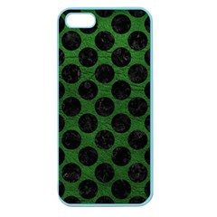Circles2 Black Marble & Green Leather (r) Apple Seamless Iphone 5 Case (color)