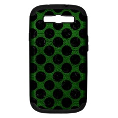 Circles2 Black Marble & Green Leather (r) Samsung Galaxy S Iii Hardshell Case (pc+silicone)