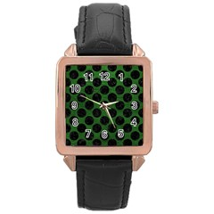 Circles2 Black Marble & Green Leather (r) Rose Gold Leather Watch