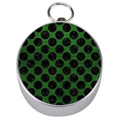 Circles2 Black Marble & Green Leather (r) Silver Compasses
