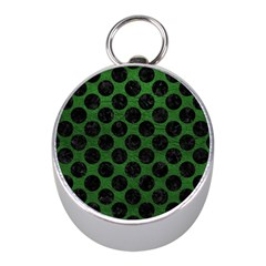 Circles2 Black Marble & Green Leather (r) Mini Silver Compasses