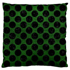 Circles2 Black Marble & Green Leather (r) Large Flano Cushion Case (two Sides)