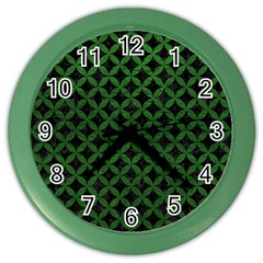 Circles3 Black Marble & Green Leather Color Wall Clocks