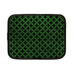 Circles3 Black Marble & Green Leather Netbook Case (small)