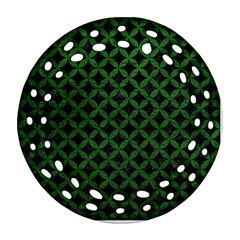 Circles3 Black Marble & Green Leather Round Filigree Ornament (two Sides)