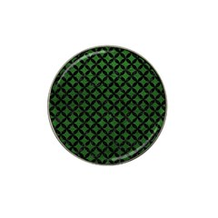 Circles3 Black Marble & Green Leather (r) Hat Clip Ball Marker (4 Pack)