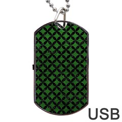 Circles3 Black Marble & Green Leather (r) Dog Tag Usb Flash (one Side)