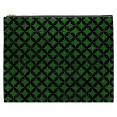 Circles3 Black Marble & Green Leather (r) Cosmetic Bag (xxxl)