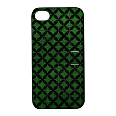 Circles3 Black Marble & Green Leather (r) Apple Iphone 4/4s Hardshell Case With Stand