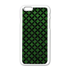 Circles3 Black Marble & Green Leather (r) Apple Iphone 6/6s White Enamel Case