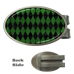 Diamond1 Black Marble & Green Leather Money Clips (oval)