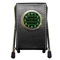 Diamond1 Black Marble & Green Leather Pen Holder Desk Clocks