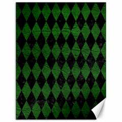 Diamond1 Black Marble & Green Leather Canvas 12  X 16