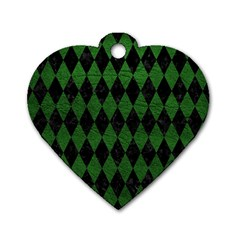 Diamond1 Black Marble & Green Leather Dog Tag Heart (one Side)