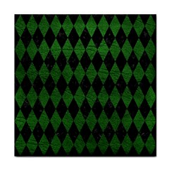 Diamond1 Black Marble & Green Leather Face Towel