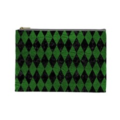 Diamond1 Black Marble & Green Leather Cosmetic Bag (large)