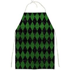 Diamond1 Black Marble & Green Leather Full Print Aprons