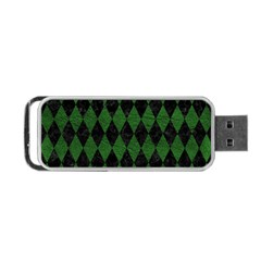 Diamond1 Black Marble & Green Leather Portable Usb Flash (two Sides)