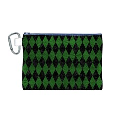 Diamond1 Black Marble & Green Leather Canvas Cosmetic Bag (m)