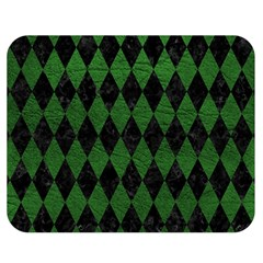 Diamond1 Black Marble & Green Leather Double Sided Flano Blanket (medium)
