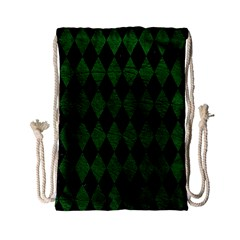 Diamond1 Black Marble & Green Leather Drawstring Bag (small)