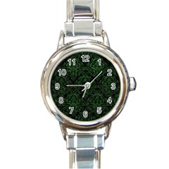 Damask1 Black Marble & Green Leather Round Italian Charm Watch